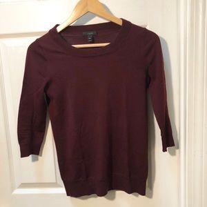 J. Crew burgundy maroon red tippi sweater classic